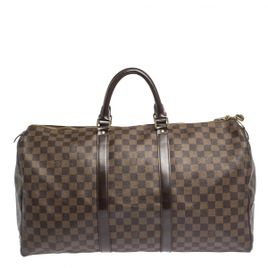 Louis Vuitton Damier Ebene Canvas Keepall Bandouliere 50