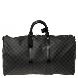 Louis Vuitton Damier Graphite Canvas Keepall Bandouliere 55 Bag