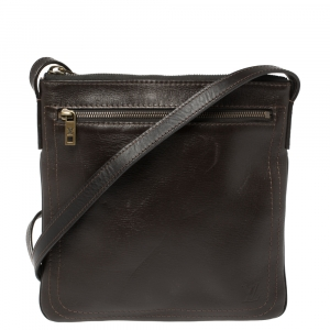 Louis Vuitton Dark Brown Utah Leather Shawnee Pochette Bag