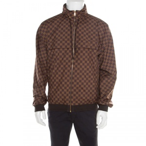 Louis Vuitton Brown Damier Reversible and Convertible Hooded Bomber Jacket XL