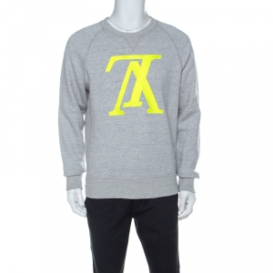 Louis Vuitton Grey Cotton Jersey Upside Down Logo Sweatshirt M