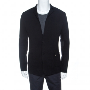 Louis Vuitton Black Knit Two Buttoned Blazer S
