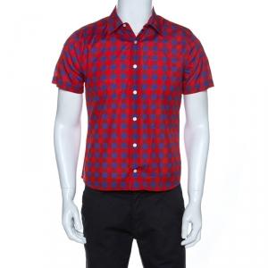 قميص لوي فيتون أكمام قصيرة كاروهات Masai  أزرق وأحمر M