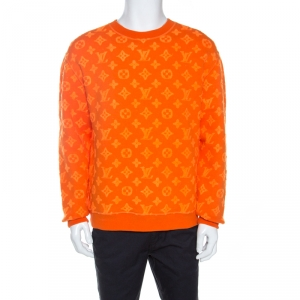 Louis Vuitton Orange Monogram Jacquard Crew Neck Sweatshirt M