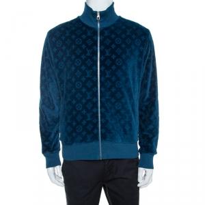 Louis Vuitton Blue Monogram Pattern Velvet Zip Front Jacket L