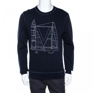 Louis Vuitton Navy Blue Sailboat Print Cotton Sweatshirt M