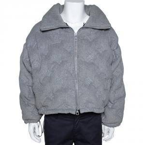 Louis Vuitton Grey Cashmere Monogram Boyhood Puffer Jacket M