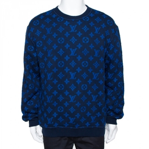 Louis Vuitton Blue Monogram Jacquard Wool Blend Sweatshirt M