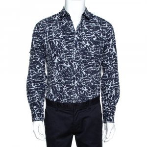 Louis Vuitton Navy Blue Printed Cotton Long Sleeve Shirt M