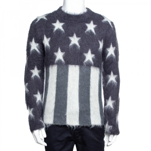 Louis Vuitton Grey USA Flag Mohair Jacquard Crew Neck Sweater M