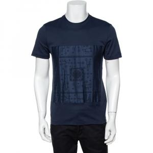 Louis Vuitton Navy Blue Cotton Patch Front Crew Neck T-Shirt S