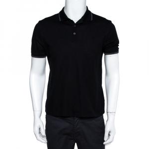 Louis Vuitton Black Cotton Pique Damier Detail Polo T-Shirt S