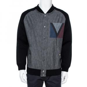 Louis Vuitton Black Denim Varsity Knit Jacket XL