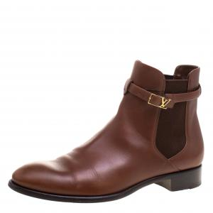 Louis Vuitton Brown Leather Loyalty Ankle Boots Size 41
