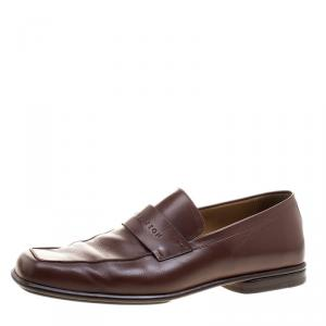 Louis Vuitton Brown Leather Square Toe Loafers Size 44