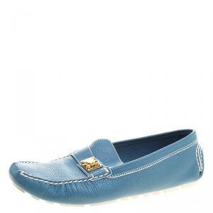 Louis Vuitton Blue Suhali Leather Lombok Driving Loafers Size 40.5