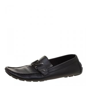 Louis Vuitton Black Leather Monte Carlo Loafers Size 46