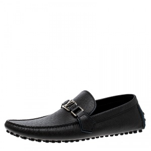 Louis Vuitton Black Leather Hockenheim Loafers Size 43