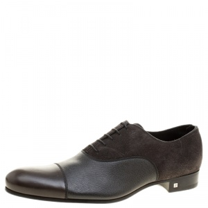 Louis Vuitton Grey Suede and Leather Ardoise Atlas Oxfords Size 43.5