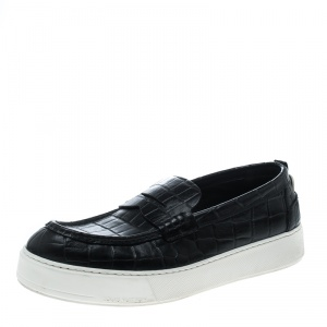 Louis Vuitton Black Croc Embossed Leather Loafers Size 45