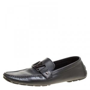حذاء لوفرز لوي فيتون مونت كارلو جلد أسود مقاس 44