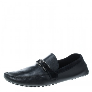 Louis Vuitton Black Leather and Suede Hockenheim Loafers Size 44.5