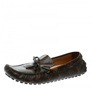 Louis Vuitton Brown Monogram Canvas Arizona Loafers Size 43