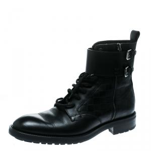 Louis Vuitton Black Damier Leather Clash Ankle Boots Size 43
