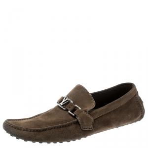 Louis Vuitton Beige Suede Hockenheim Loafers Size 43