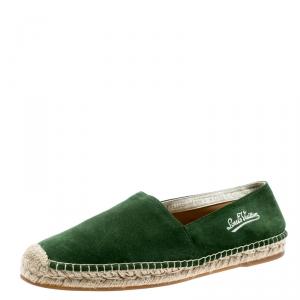 Louis Vuitton Green Suede Slip On Espadrilles Size 41.5