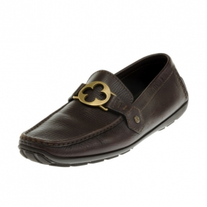 Louis Vuitton Brown Embossed Leather Flower Logo Loafers Size 42