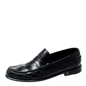 Louis Vuitton Black Damier Infini Embossed Outline Loafers Size 40