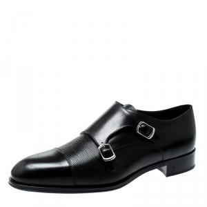 Louis Vuitton Black Epi Leather Double Monk Strap Derby Size 43