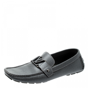 Louis Vuitton Grey Leather Monte Carlo Loafers Size 44