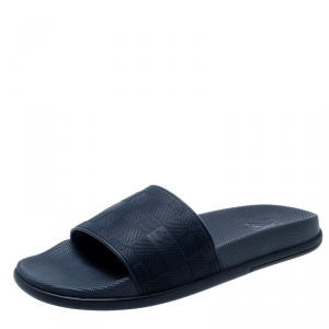 Louis Vuitton Blue Damier Embossed Rubber Waterfront Flat Slides Size 42.5