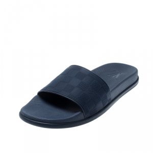 Louis Vuitton Blue Damier Embossed Rubber Waterfront Flat Slides Size 43