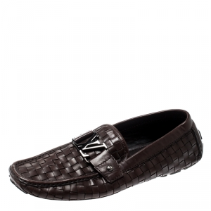 Louis Vuitton Dark Brown Woven Leather Monte Carlo Loafers Size 43