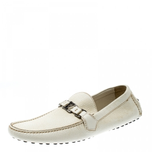 Louis Vuitton White Leather Hockenheim Loafers Size 43