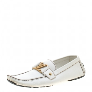 Louis Vuitton White Leather Monte Carlo Loafers Size 41.5