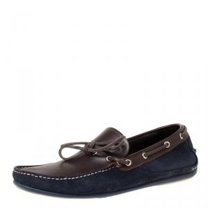 Salvatore Ferragamo Brown/Blue Leather Loafers Size 43.5