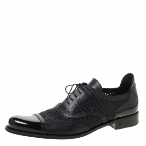 Louis Vuitton Black Perforated Leather Cap Toe Oxfords Size 43.5