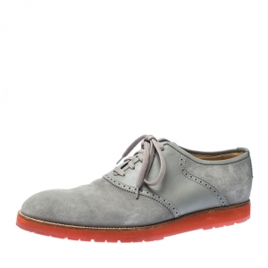 Louis Vuitton Grey Suede and Leather Brogue Lace Up Oxford