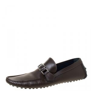 Louis Vuitton Dark Brown Leather Hockenheim Loafers Size 42.5