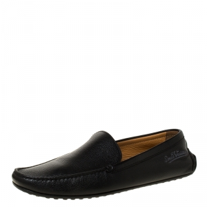 Louis Vuitton Black Leather Slip On Loafers Size 42.5
