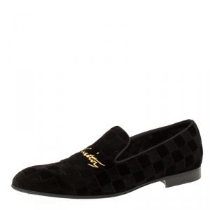 Louis Vuitton Black Damier Velvet Slip On Loafers Size 42.5
