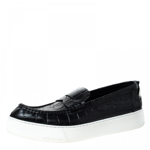 Louis Vuitton Black Croc Embossed Leather Slip On Sneakers Size 45