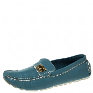 Louis Vuitton Blue/White Leather S-Lock Driving Loafers Size 40