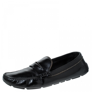 Louis Vuitton Black Leather Monte Carlo Slip On Loafers Size 45