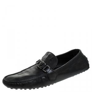 Louis Vuitton Black Leather Damier Infini Hockenheim Moccasin Size 43.5