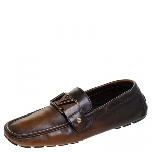 Louis Vuitton Brown/Black Ombre Leather Monte Carlo Loafers Size 41.5